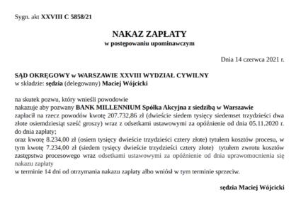 Nakaz zapłaty wydany w sprawie naszych Klientów przeciwko Bank Millenium S.A.