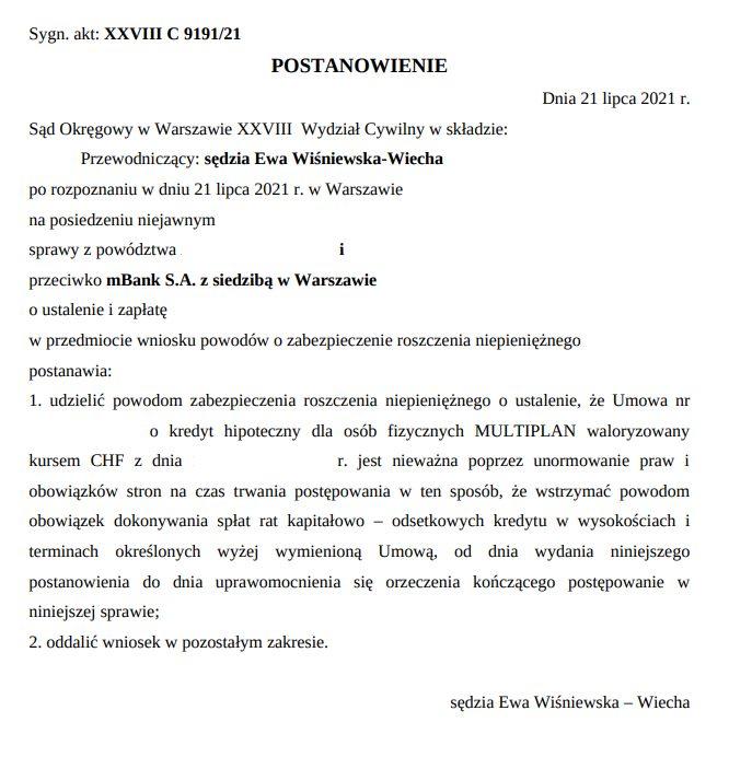 Błyskawiczne rozstrzygnięcie wniosku o zabezpieczenie w sprawie przeciwko mBank S.A.
